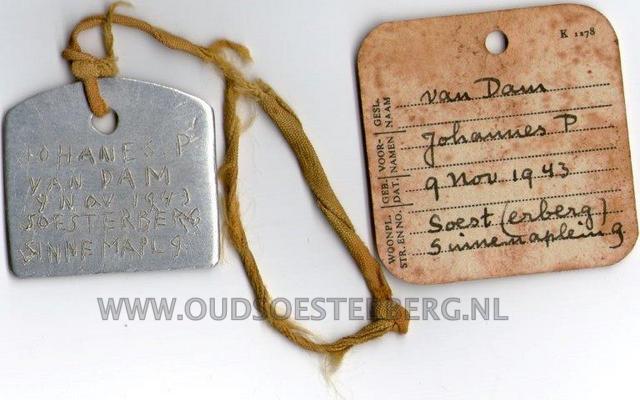 1-Dogtag Johan van Dam 1943